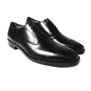 Black Oxford Leather Shoes Front With Brogue Detail