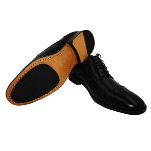 Black Leather Cap Toe Derby Shoe