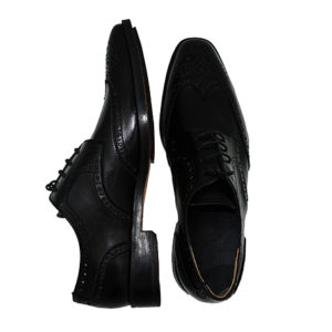Black CustomMade Brogues Wingtip Derby Formal Leather Dress Shoes