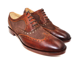 Dark Brown Suede Contrast Brogues Wingtip Oxford Formal Leather Dress Shoes
