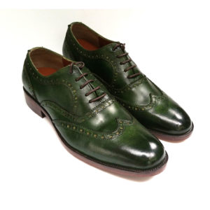 Patina Dark Green Brogues Wingtip Oxford Leather Shoes