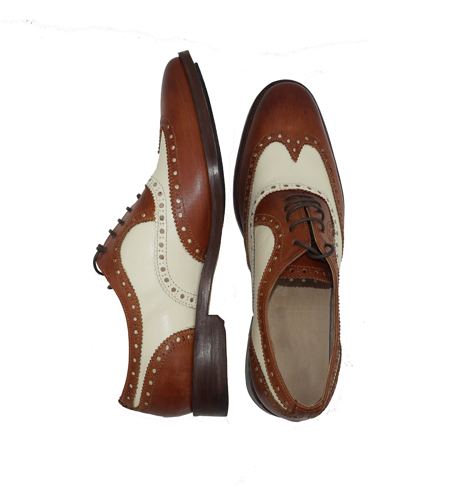 Extravagantly White Beige Light Tan Brown Contrast Brogues Wingtip Oxford Leather Shoes