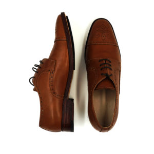 Custom Tan Light Brown Brogues Cap Toe Derby Shoes