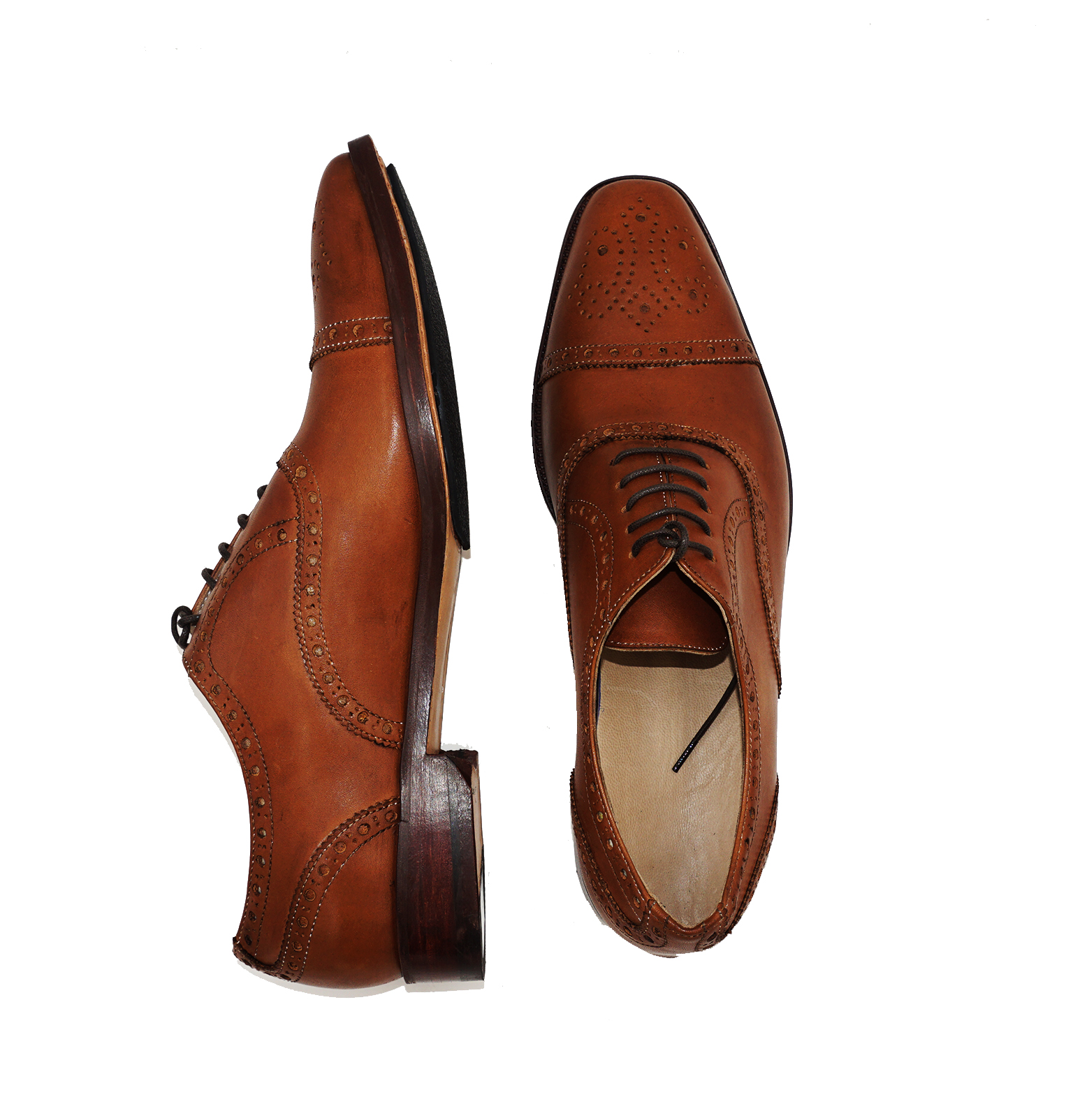 Light Tan Brown Brogue Cap Toe Oxford Formal Leather Dress Shoe