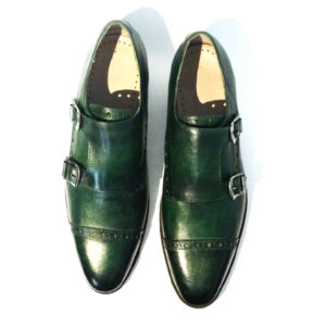 Patina Green Double Monkstrap Brogues Captoe Leather Shoes